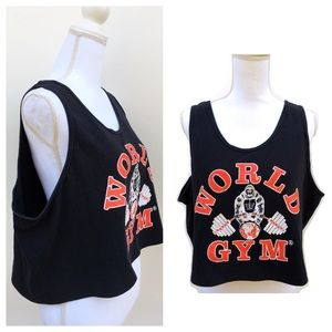 90s Vintage World Gym Graphic Tee Crop Top Tshirt